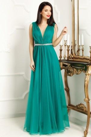 Rochie lunga verde eleganta Ania