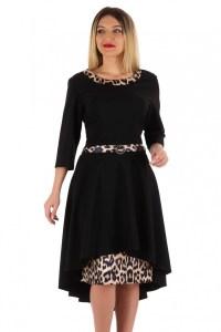 Rochie neagra de zi asimetrica si print de leopard Melania