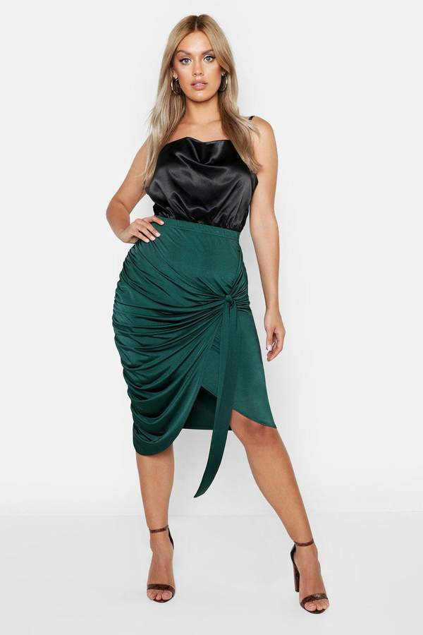 boohoo Plus Slink Wrap Rouched Detail Midi Skirt