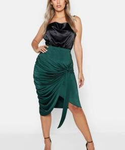 boohoo Plus Slink Wrap Rouched Detail Midi Skirt