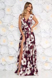 Rochie Artista visinie de ocazie in clos cu decolteu adanc din material satinat cu imprimeu floral