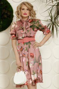 Rochie eleganta midi rose cu imprimeu floral