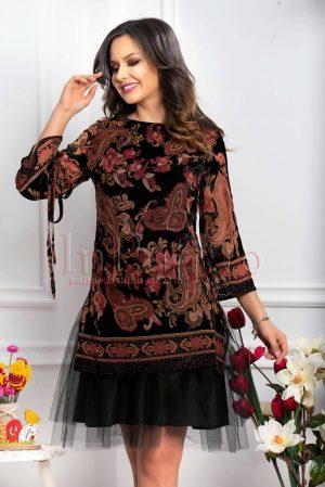 Rochie de seara neagra cu imprimeu deosebit si insertie catifea