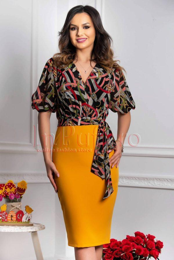 Rochie eleganta tip compleu galben mustar si imprimeu multicolor cu maneca scurta crapata