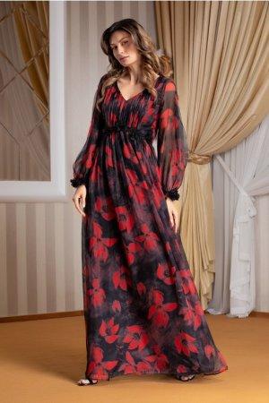 Rochie Leonard Collection neagra lunga din voal cu flori rosii