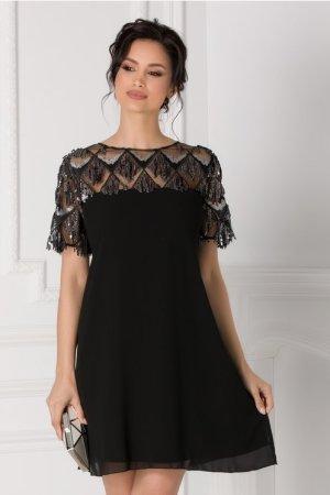 Rochie neagra eleganta accesorizata cu franjuri din paiete decolteu oval Lola