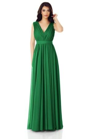 Rochie lunga de seara din voal verde cu bust fronsat si cordon.