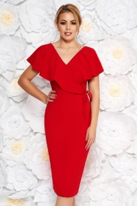 Rochie rosie eleganta tip creion din material elastic cu decolteu in v StarShinerS