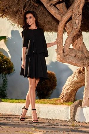 Compleu dama elegant negru in pliuri