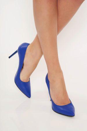 Pantofi albastru stiletto office din piele naturala