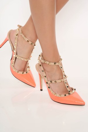 Pantofi stiletto corai cu toc inalt