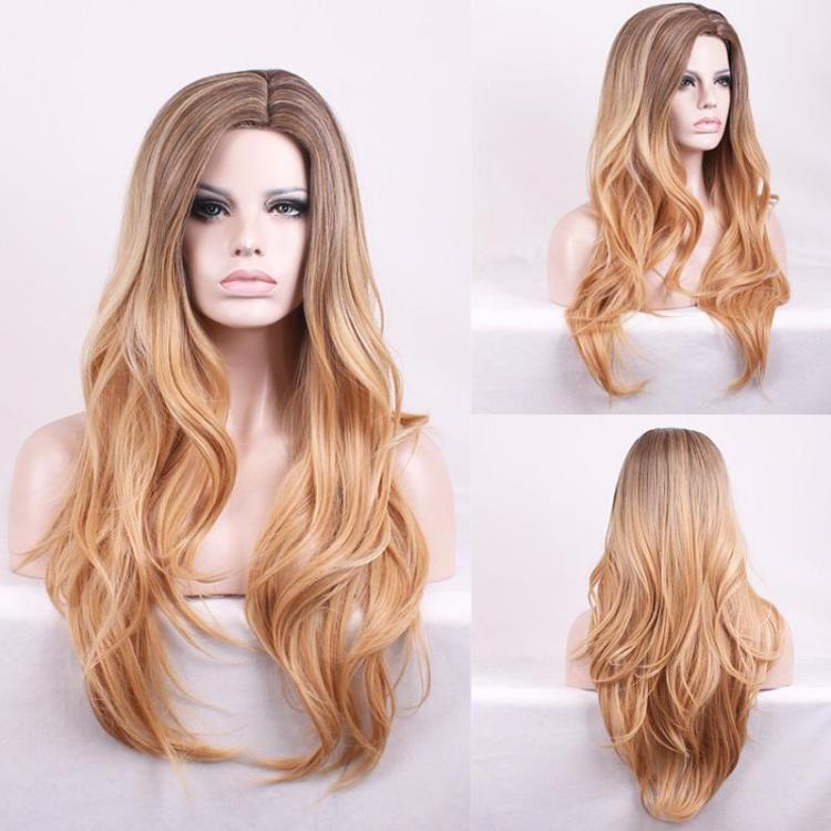 Perucă din păr sintetic rezistent la căldură pentru femei lung și ondulat