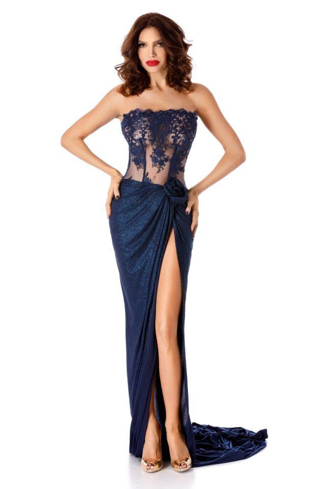 Rochie albastra-inchis de ocazie cu corset