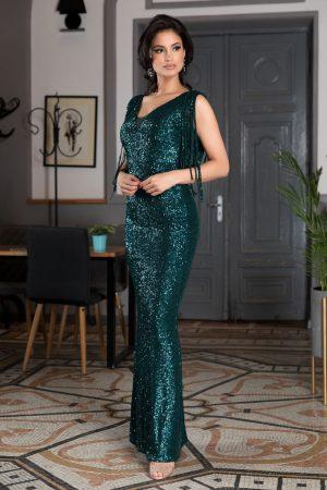 Rochie de seara lunga verde tip sirena