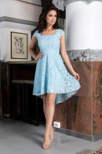 Rochie de zi bleu asimetrica