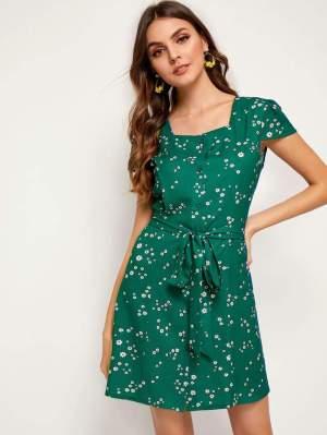 Rochie de zi casual cu imprimeu floral