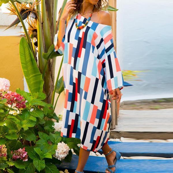 Rochie de zi casual midi colorata