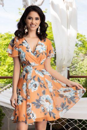 Rochie eleganta scurta din voal cu imprimeu floral
