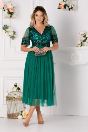 Rochie eleganta verde cu dantela la bust si paiete