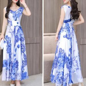 Rochie lungă pentru femei cu imprimeu floral model casual fără mâneci
