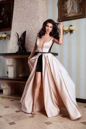 Rochie lunga tafta cu fusta scurta din dantela neagra