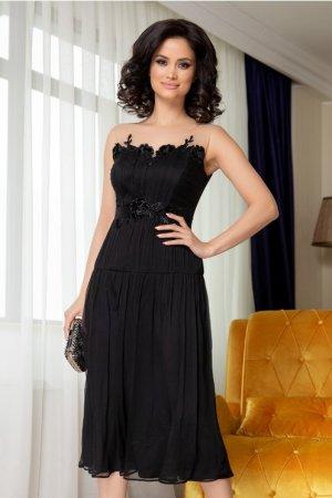 Rochie neagra midi eleganta cu broderie florala la bust