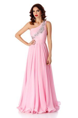 Rochie roz de ocazie din voal