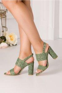 Sandale cu toc din piele intoarsa