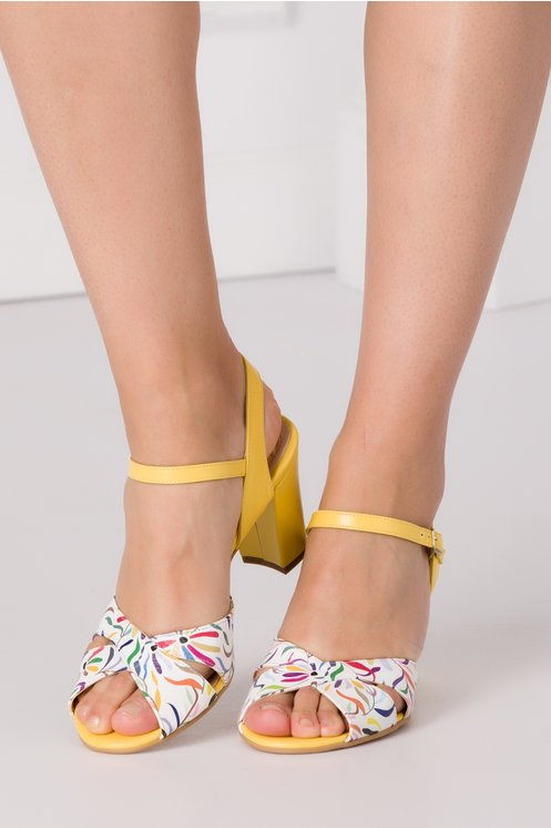 Sandale cu toc galbene elegante