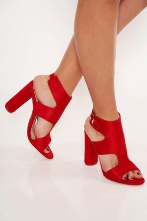 Sandale rosii cu toc gros din piele ecologica
