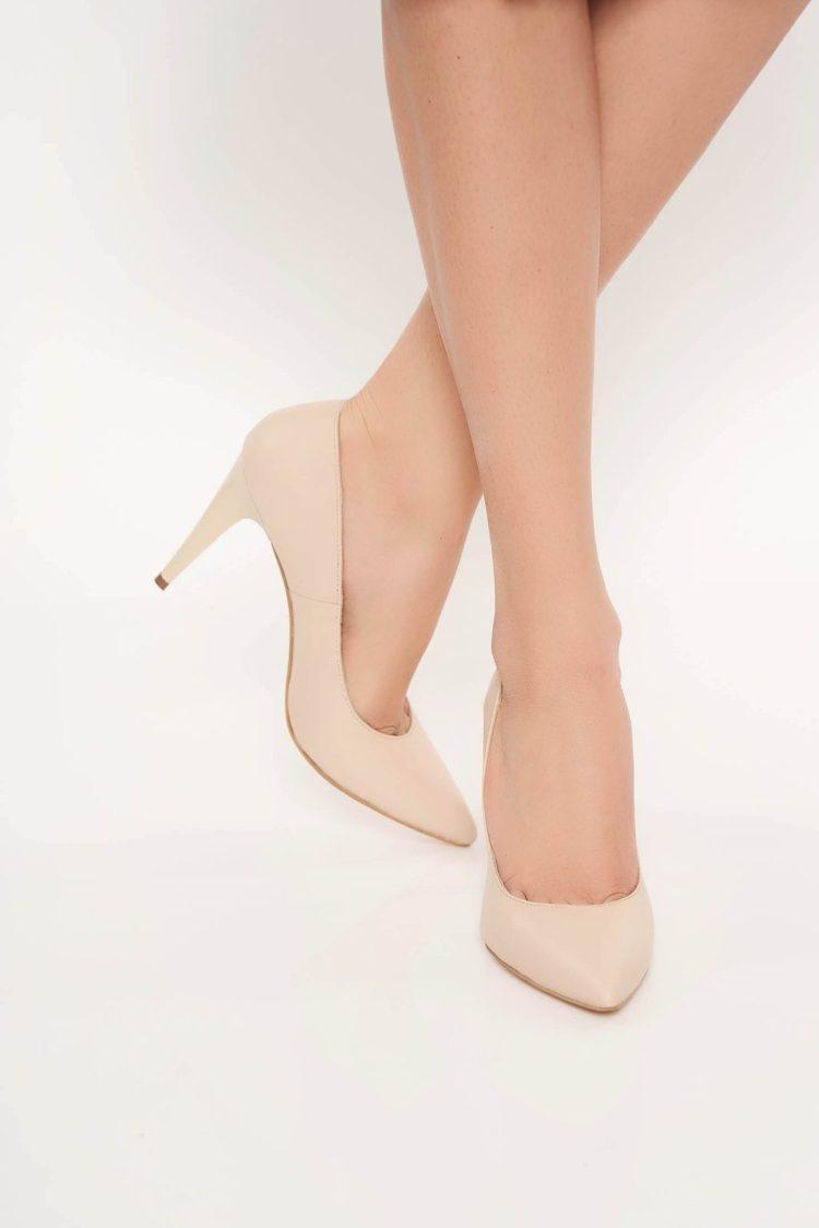 Pantofi nude stiletto office din piele naturala cu varful usor ascutit