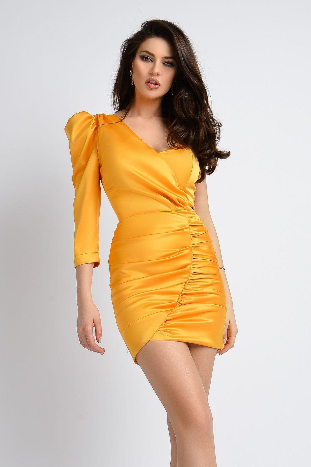 Rochie De Seara Scurta Din Tafta Galbena Rn2339 Smart Shopping Online