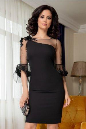 Rochie neagra eleganta cu broderie florala la bust Leonard Collection