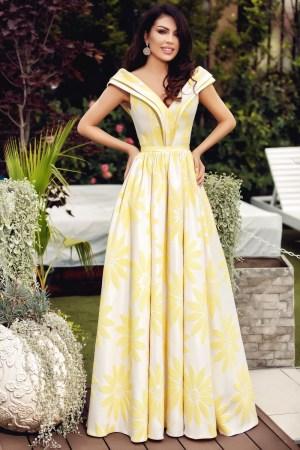 Rochie lunga eleganta brocard cu flori galbene