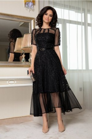 Rochie neagra eleganta cu broderie florala si ciucurei Moze