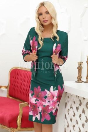 Compleu dama elegant verde cu imprimeuri crini