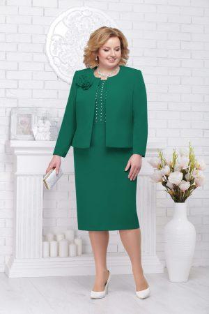 Compleu dama verde elegant din stofa cu aplicatii cu perle