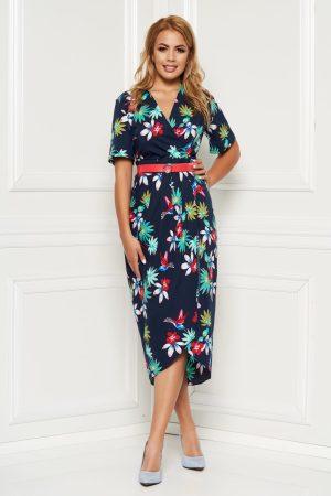 Rochie albastra-inchis de zi cu un croi cambrat cu decolteu in v