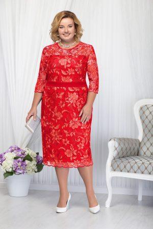 Rochie de ocazie rosie eleganta cu un croi drept midi