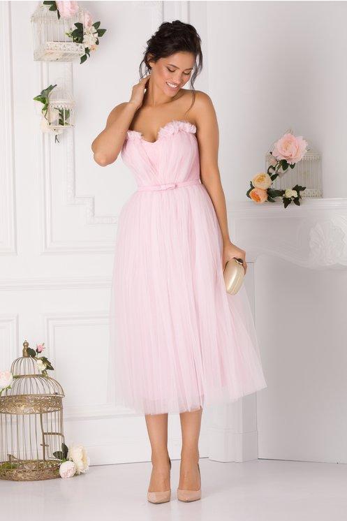 Rochie de ocazie roz eleganta cu dantela la bust