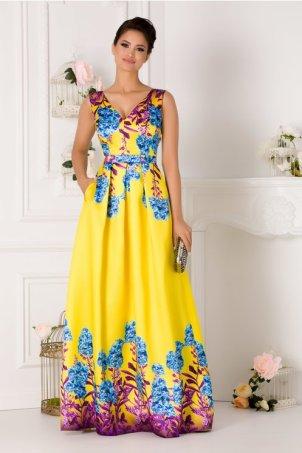 Rochie de seara galbena eleganta cu imprimeu floral