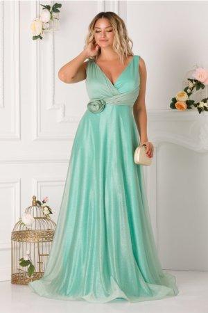 Rochie de seara lunga eleganta cu floare la talie