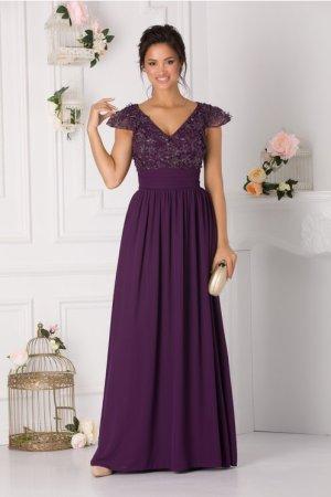 Rochie de seara mov lunga eleganta