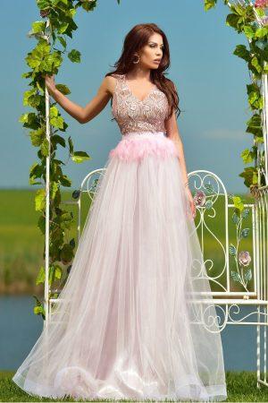 Rochie de seara rose din tulle si pene