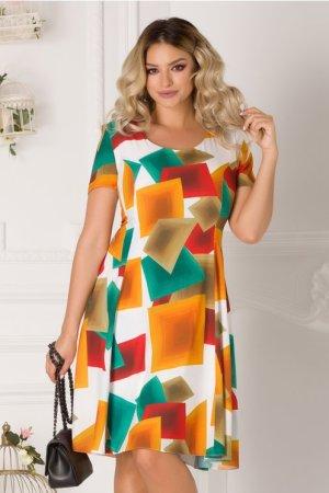 Rochie de zi plus size cu imprimeu geometric