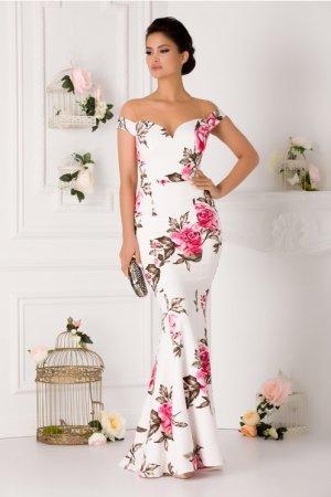 Rochie lunga eleganta cu imprimeu floral tip sirena