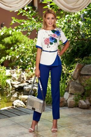 Compleu dama albastru elegant din 2 piese cu pantaloni