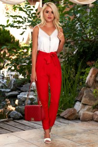 Pantaloni rosii eleganti conici cu talie inalta cu buzunare in fata