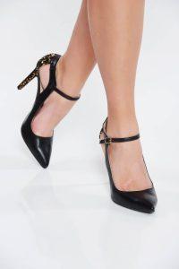 Pantofi negru elegant din piele naturala decupati in fata si in lateral