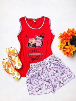 Pijama dama scurta rosie cu imprimeu ieftina din bumbac elastic